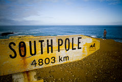 South Pole. Sign points to South Pole from bottom of New Zealand stock images