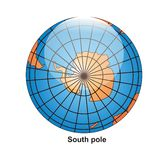 South Pole Globe. Surounding by white background Vector Illustration