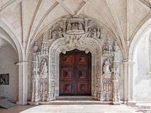 South Portal of the Jeronimos Monastery in Lisbon, Portugal. Stock Image