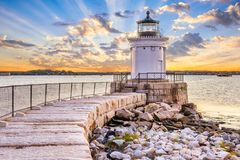 South Portland, Maine, USA. At the Portland Breakwater Light Stock Photos