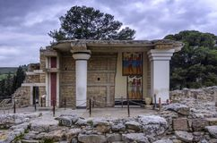 South Propylaeum restored building with the two frescoes at the archaeological site of Knossos stock photo