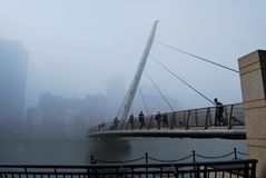 South Quay Footbridge in the Fog Royalty Free Stock Images