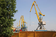 South river port in Moscow, portal cranes Stock Images
