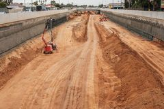South Road motorway upgrade in Adelaide, South Australia. Adelaide, Australia - January 10, 2018: Torrens Road to River Torrens Project under construction view Royalty Free Stock Photo