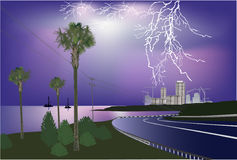 South road at night thunderstorm Royalty Free Stock Images