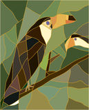 Stained glass of a toucan bird. Realistic style. Royalty Free Stock Photos