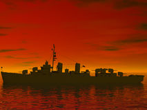 South Seas during world war 2. Sun setting in the south seas behind a battleship Stock Photo
