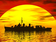 South Seas during world war 2. Sun setting in the south seas behind a battleship Stock Image
