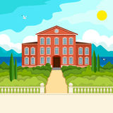 South seascape idyllic. Southern landscape. The stone parapet and balustrade railings. Figured columns balustrades. The yellow pass to the red house. Green trees Royalty Free Stock Photo