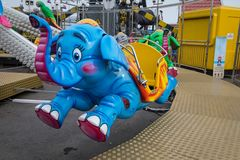South Shields Seaside Fairground ride. South Shields fairground on the seafront - detail of one of the children`s rides - elephant Stock Images