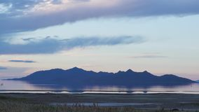 Shoreline video of the waters and surrounding mountains of Utah's Great Salt Lake stock video footage