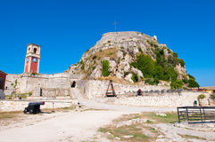 South side of the Old Fortress with the Venetian clock tower. Corfu island, Greece. Royalty Free Stock Photography