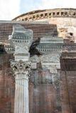 South Side of Roman Pantheon with Remnants of Original Granite Corinthian Columns Stock Photo