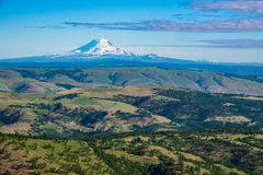 South side of snowy Mount Adams seen from Oregon. Snow-covered Mount Adams seen from Oregon Stock Photo