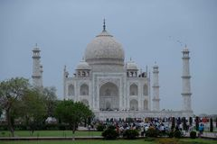The south side of the Taj Mahal on a cloudy morning. royalty free stock photos
