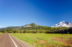 South Sister and Highway Royalty Free Stock Images