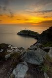 South Stack Lighthouse. Sunset Holyhead Island Wales UK Royalty Free Stock Photography