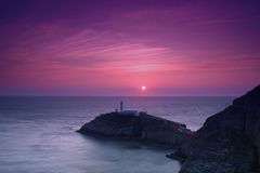 South Stack Lighthouse. And the Irish sea at sunset Royalty Free Stock Image