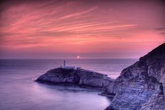 South Stack Lighthouse. And the Irish sea at sunset Stock Photography