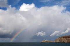 South Stack Lighthouse rainbow Royalty Free Stock Image