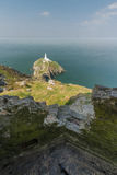 South Stack lighthouse, from WWII coastal observation post, Angl Royalty Free Stock Photo