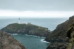 South Stacks Lighthouse. The historic South Stack Lighthouse is located on a small island reached via a descent of 400 steps down the steep mainland cliffs Royalty Free Stock Photos