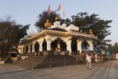 Indian temples for prayers and forgiveness. South of the state is a small and very beautiful temple standing right on the road India, Goa, March 08, 2017 royalty free stock photos