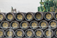 South Stream gas pipes in Varna Port Stock Photos