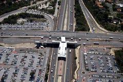 South Street and Kwinana Freeway. Aerial view of the South Street and Kwinana Freeway Intersection, Perth Western Australia stock photo