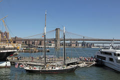 South Street Seaport and Brooklyn Bridge, NYC. Stock Photos