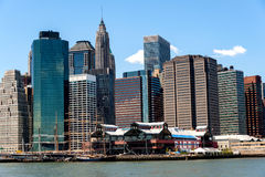 South Street Seaport and other landmark and modern buildings of Stock Photo