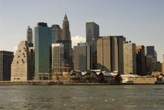 South Street Seaport Skyline. South Street Seaport and the Financial District Skyline, Lower Manhattan, New York City Stock Image