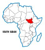 South Sudan Africa Map. South Sudan outline inset into a map of Africa over a white background Royalty Free Stock Image
