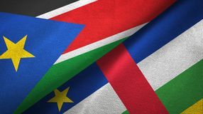 South Sudan and Central African Republic two flags textile fabric texture. South Sudan and Central African Republic flags together textile cloth, fabric texture stock photos