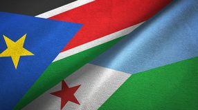 South Sudan and Djibouti two flags textile cloth, fabric texture. South Sudan and Djibouti two folded flags together stock image