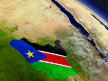 South Sudan with embedded flag on Earth Stock Photography