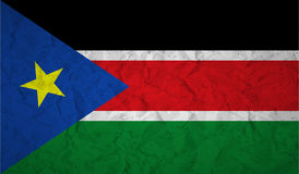 South Sudan flag with the effect of crumpled paper and grunge Stock Photography