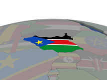 South Sudan with flag Stock Photography