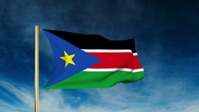 South Sudan flag slider style. Waving in the wind stock video footage