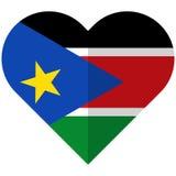 South Sudan flat heart flag Stock Image