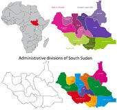 South Sudan map. Administrative division of the Republic of South Sudan Royalty Free Stock Photo