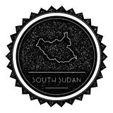South Sudan Map Label with Retro Vintage Styled. South Sudan Map Label with Retro Vintage Styled Design. Hipster Grungy South Sudan Map Insignia Vector Stock Image