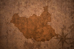 South sudan map on a old vintage paper background. South sudan map on a old vintage crack paper background Royalty Free Stock Image