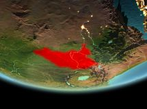 South Sudan at night on Earth. South Sudan from orbit of planet Earth at night with highly detailed surface textures. 3D illustration. Elements of this image Royalty Free Stock Photos
