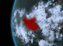 South Sudan in red at night. Night map of South Sudan as seen from space on planet Earth. 3D illustration. Elements of this image furnished by NASA Stock Photography