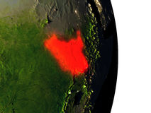 South Sudan from space during dusk Stock Photography