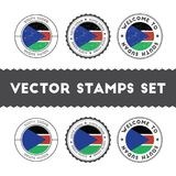 South Sudanese flag rubber stamps set. National flags grunge stamps. Country round badges collection Stock Image