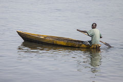 South Sudanese man in canoe Stock Photos