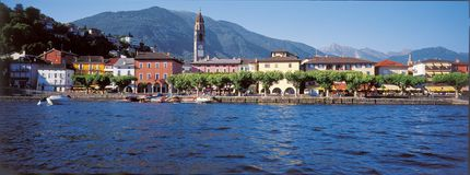 South Switzerland: Ascona City at Lake Maggiore in Ticino royalty free stock photo