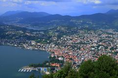 South Switzerland: View from Mount Bré to the city of Lugano royalty free stock photography
